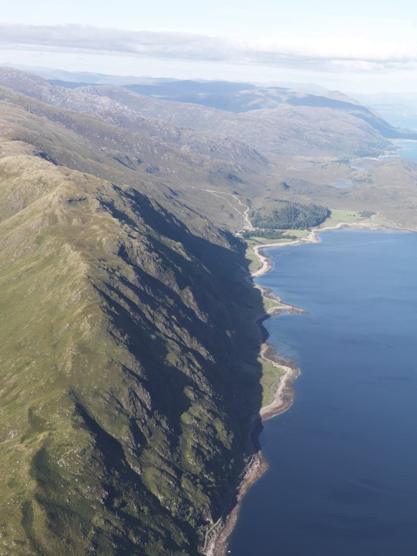 General oblique aerial view looking along the NW shore of Loch Linnhe towards Kilmalieu, looking NNE.