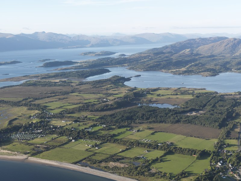 General oblique aerial view of Benderloch with Loch Creran and Loch Linnhe beyond, looking NNW.