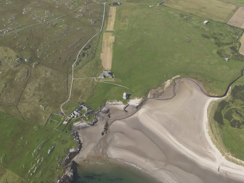 Oblique aerial view centred on Breachacha House, Col, looking to the NNW.