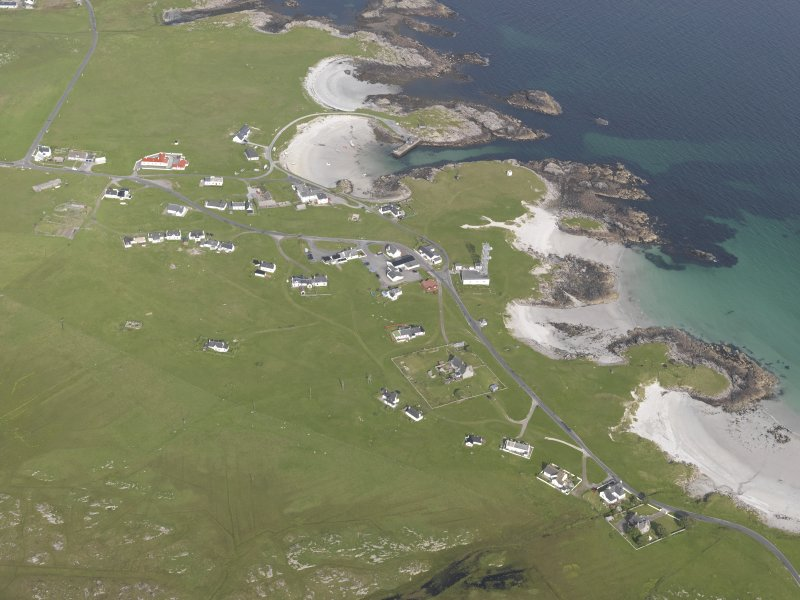 General oblique aerial view of Scarinish, Tiree, looking to the ENE.