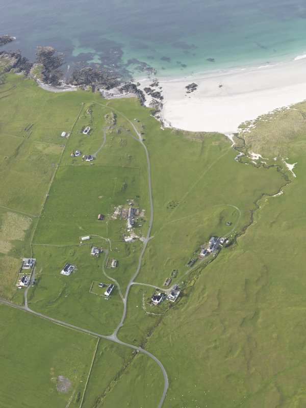 Oblique aerial view of Balevullin, Tiree, looking to the NW.