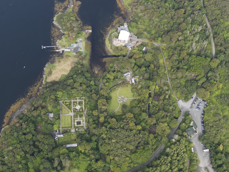 Oblique aerial view of Dunvegan Castle and gardens, looking NNW.