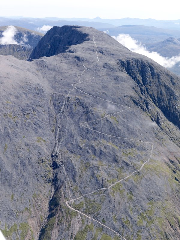 General oblique aerial view of Ben Nevis looking up the footpath, taken from the W.