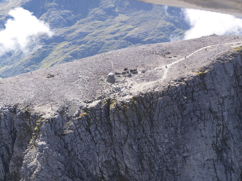 Oblique aerial view of the remains of the Ben Nevis observatory, taken from the N.