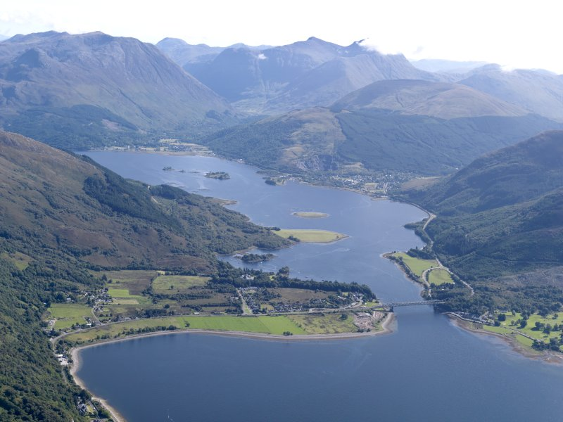 General oblique aerial view of Loch Leven with the Ballachulish Bridge in the foreground, looking E.