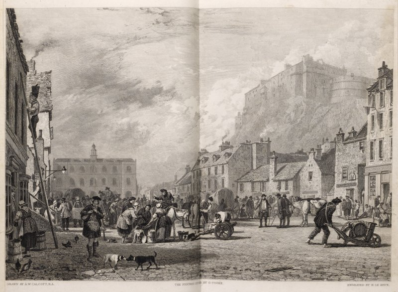 Edinburgh, engraving showing trading in the Grassmarket, buildings on north & west sides of square & Edinburgh Castle above. Titled 'The Castle from the Grassmarket. Drawn by A.W. Calcott, R.A. Engraved by H. Le Keux, the figures etched by G. Cooke, London, published Nov. 1st 1820 by Rothwell & Martin, New Bond Street.'