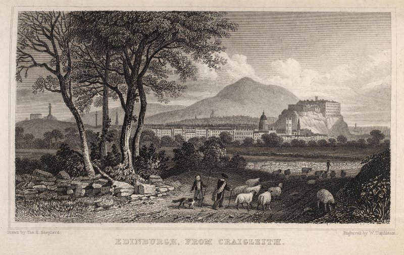 Engraving of Edinburgh from Craigleith. Titled 'Edinburgh from Craigleith. Drawn by Tho. H. Shepherd. Engraved by W. Tombleton.