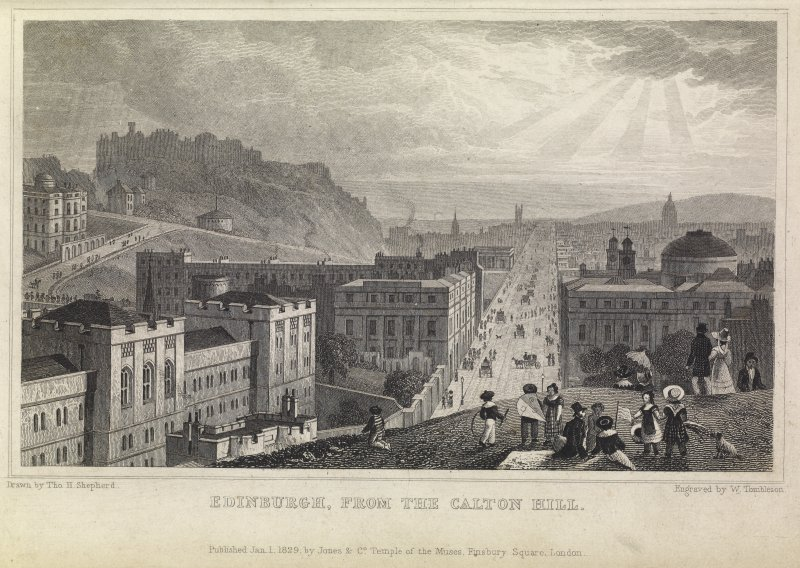 Engraving of Edinburgh from Calton Hill with Bridewell in foreground. Titled 'Edinburgh from the Calton Hill. Drawn by Tho. H. Shepherd. Engraved by W. Tombleson. Published Jan. 1 1829 by Jones & Co. Temple of the Muses, Finsbury Square. London.'