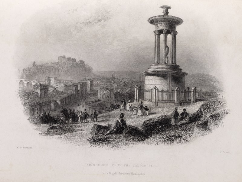 Engraving of Dugald Stewart's Monument, with Edinburgh in background. Titled 'Edinburgh from the Calton Hill (with Dugald Stewart's Monument.) W.H.Bartlett. J. Cousen.'