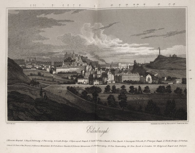 Edinburgh, engraving showing general view with buildings and monuments identified and numbered. Titled 'Edinburgh. Storer del et sc. Published Oct 1 1820 by Sherwood & Co Paternoster Row.'