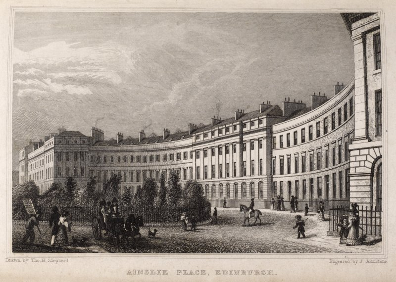 Edinburgh, engraving of Ainslie Place. Titled 'Ainslie Place, Edinburgh. Drawn by Tho. H. Shepherd. Engraved by J. Johnstone.