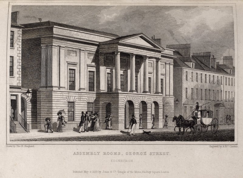 Edinburgh, engraving of The Assembly Rooms. Titled ' Assembly Rooms, George Street. Edinburgh. Drawn by Tho. H. Shepherd. Engraved by A. McClatchie. Published May 9 1829 by Jones & Co Temple of the Muses, Finsbury Square, London.'