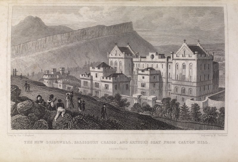 Edinburgh, engraving of front of the New Bridewell from Calton Hill. Titled: 'The new Bridewell, Salisbury Crags and Arthur's Seat from the Calton Hill, Edinburgh. Drawn by Tho. H. Shepherd. Engraved  ...