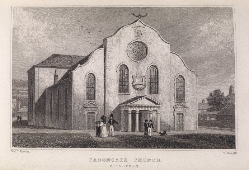 Edinburgh, engraving of Canongate Church, front view. Titled 'Canongate Church, Edinburgh. Drawn by Tho. H. Shepherd. Engraved by W. Radclyffe.'