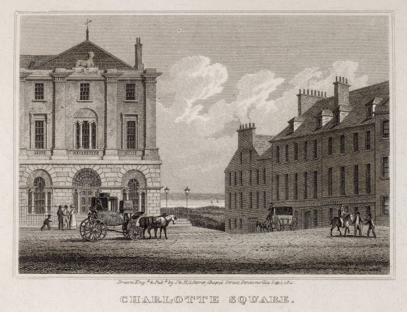 Edinburgh, engraving of the NE corner of Charlotte Square. Titled 'Charlotte Square, Drawn, engraved and published by J. and H.S. Storer, Chapel Street, Pentonville.'
