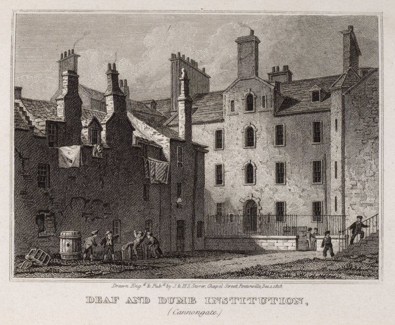 Engraving showing Chessel's Court, Edinburgh from North West Titled: 'Deaf and Dumb Institution (Canongate)'. Inscribed: 'Drawn Engd. & Pubd. by J. & H.S. Storer, Chapel Street, Pentonville, Dec, 1, 1819'.