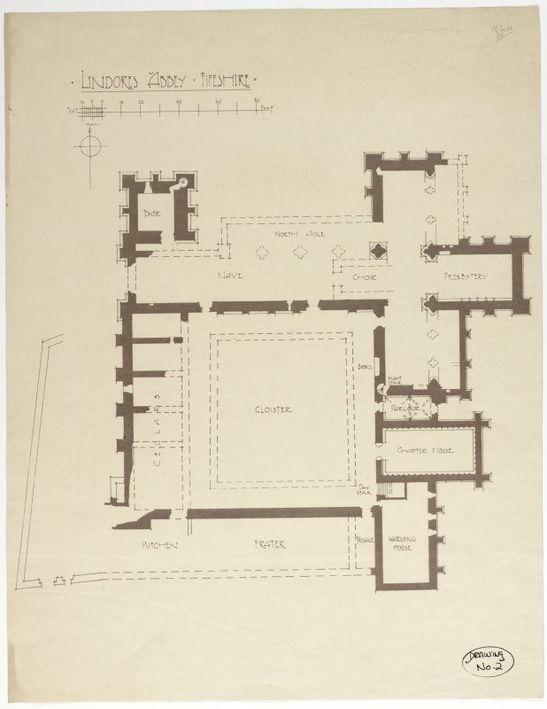 Drawing showing plan of Lindores Abbey.