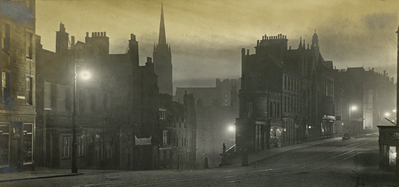 View of Edinburgh at night Titled: 'Candlemakers Row and George IV Bridge  April 1907' PHOTOGRAPH ALBUM No.30: OLD EDINBURGH ALBUM