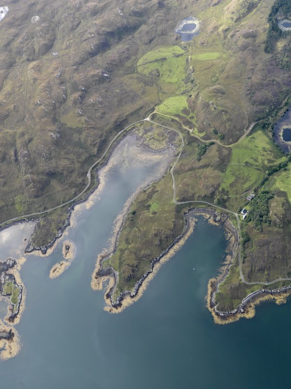 General oblique aerial view of the area around Loch a' Mhuilinn, looking SSW