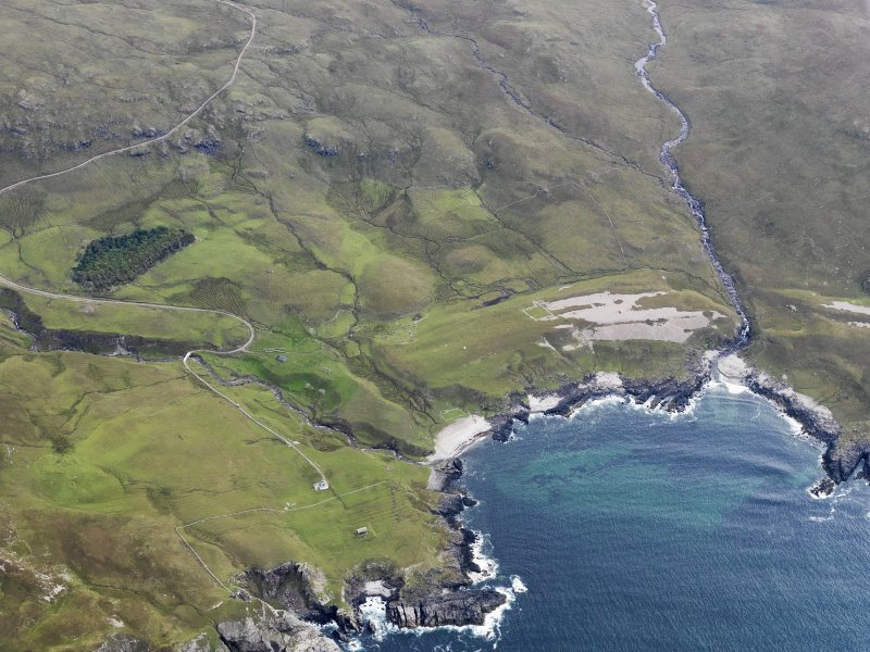 Oblique aerial view of Harris, Rum, looking NE.