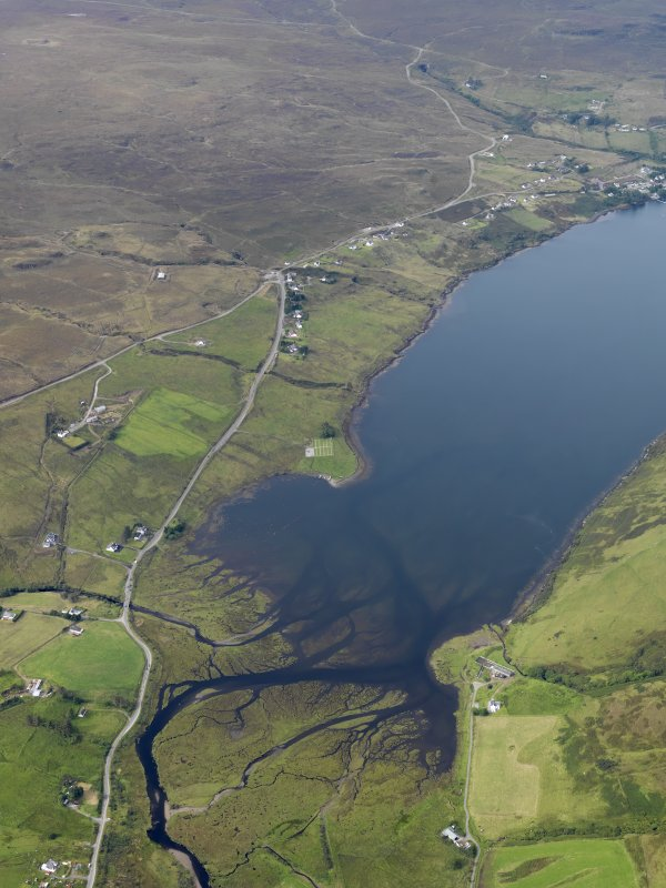 General oblique aerial view of Merkadale and Loch Harport, Skye, looking W.