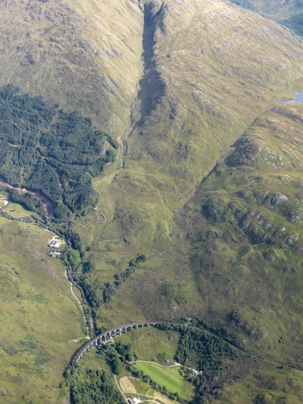 General oblique aerial view of the Glenfinnan railway viaduct, looking ENE.