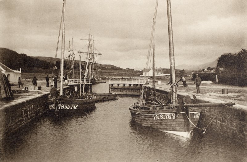 Copy of photograph titled 'Fishing boats in the Lower Lock, Caledonian Canal'