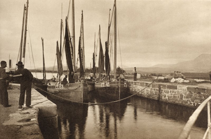 Copy of photograph titled 'Fishing boats on the Caledonian Canal at Banavie'