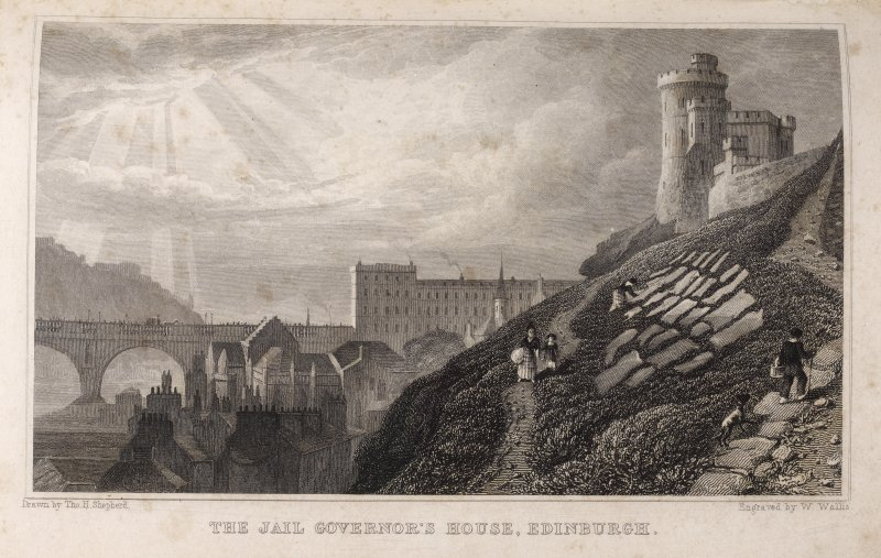 Edinburgh, engraving from the east of Jail Governor's House on right, part of the North Bridge on left and adjacent buildings. Titled 'The Jail Governor's House, Edinburgh. Drawn by Tho. H. Shepherd.  ...
