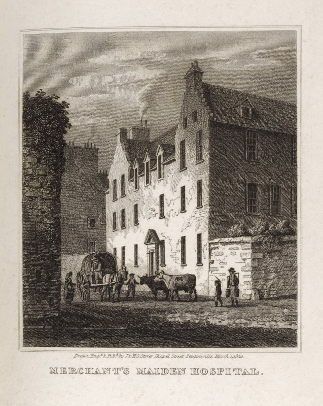 Edinburgh, engraving of Merchant Maiden Hospital. Titled: 'Merchant's Maiden Hospital. Drawn, engrd. and pubd. by J. and H.S. Storer, Chapel Street, Pentonville, March 1, 1820.'