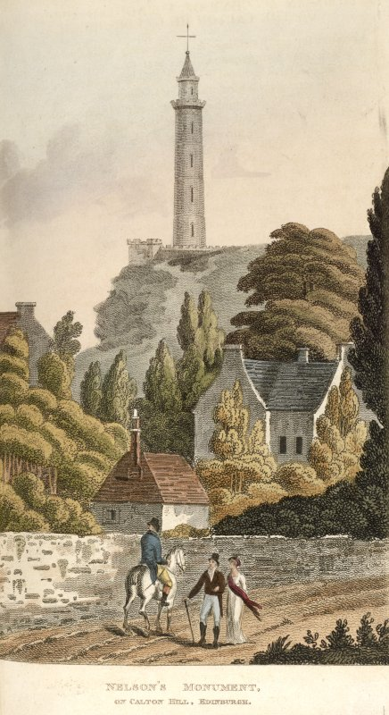 Edinburgh, coloured engraving of Nelson's Monument seen from a road below with a gabled house, outbuilding & wall in foreground. Titled: ' Nelson's Monument on Calton Hill, Edinburgh. Plate 21. Vol.5. ...