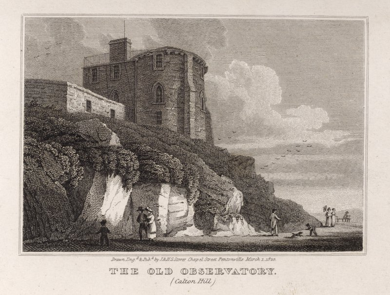 Edinburgh, engraving of the Old Observatory from path below. Titled: ' The Old Observatory (Calton Hill). Drawn, engd. and pubd. by J. and H.S. Storer, Chapel Street, Pentonville, March1, 1820.'