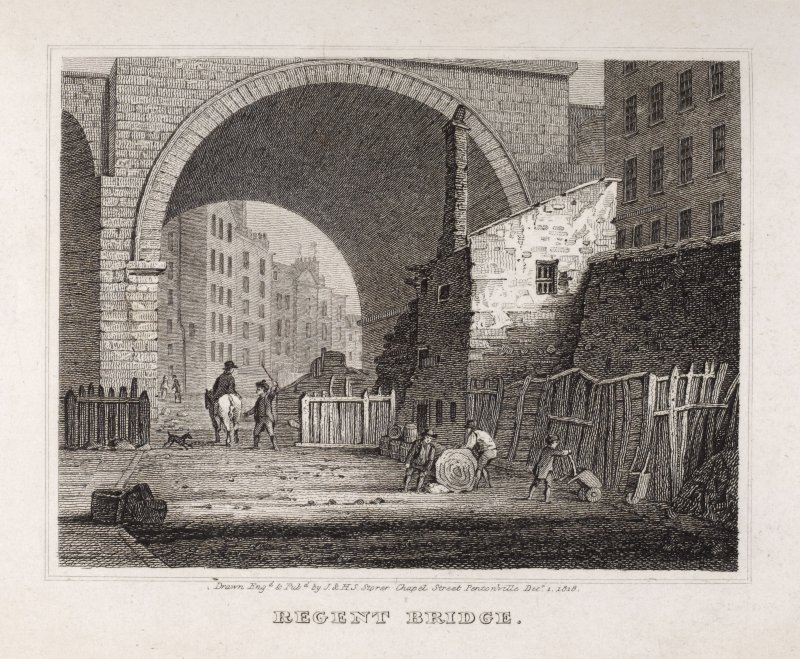Edinburgh, engraving of Regent Bridge seen from below, with figures. Titled: 'Regent Bridge. Drawn, Engd. and pubd. by J. and H.S. Storer, Chapel Street, Pentonville, Dec 1, 1818.'