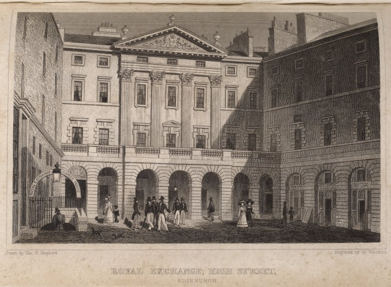 Edinburgh City Chambers, engraving of Royal Exchange showing main Front & side wings & entrance to Royal Exchange Coffee House in Courtyard. Titled 'Royal Exchange, High Street, Edinburgh. Drawn by Tho. H. Shepherd. Engraved by W. Watkins.'