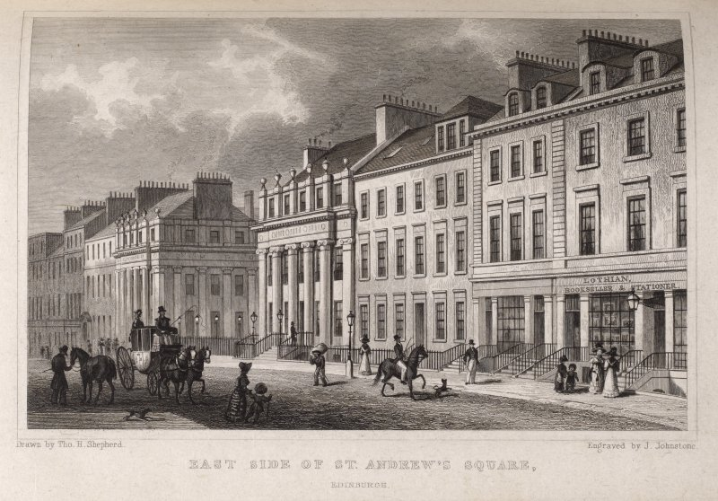 "Edinburgh, engraving of east side of St Andrew Square. On left 2 shops, one ""Lothian"" a bookseller& stationer. Titled 'East side of St. Andrews Square, Edinburgh. Drawn by Tho. H. Shepherd. Engraved b ..."