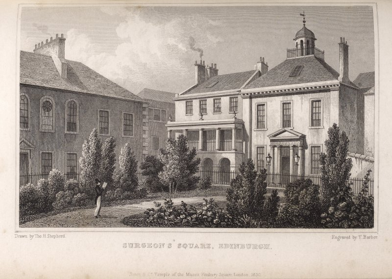 Edinburgh, engraving of part of Surgeons' Hall with 2 houses facing gardens, one 3-storey with pillared balcony above arched ground floor, the other a tall 2-storey with portico entrance.  Titled 'Sur ...