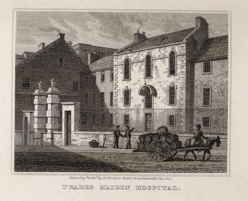 Edinburgh, engraving of the Trades Maiden Hospital. Titled: 'Trades Maiden Hospital. Drawn, Engrd. and pubd. by J. and H.S. Storer, Chapel Street, Pentonville, Oct.1, 1820.'