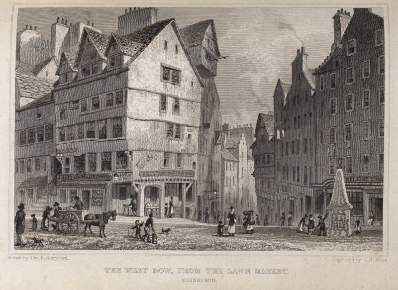 Edinburgh, engraving of the West Bow junction with the Lawnmarket. Titled 'The West Bow from the Lawn Market, Edinburgh. Drawn by Tho. H. Shepherd. Engraved by J. B. Allen. '
