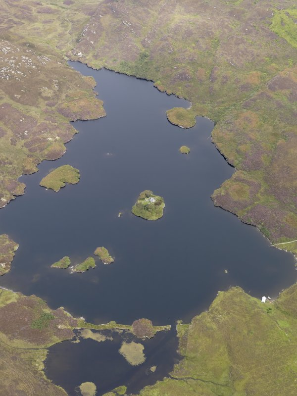 Oblique aerial view of Loch an Sgoltaire and the castle, taken from the SSE.