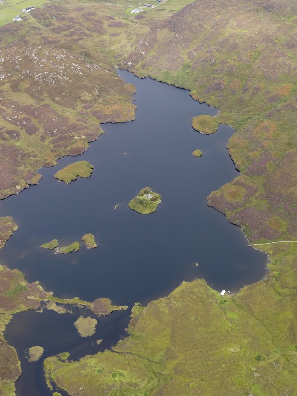 Oblique aerial view of Loch an Sgoltaire and the castle, taken from the SE.