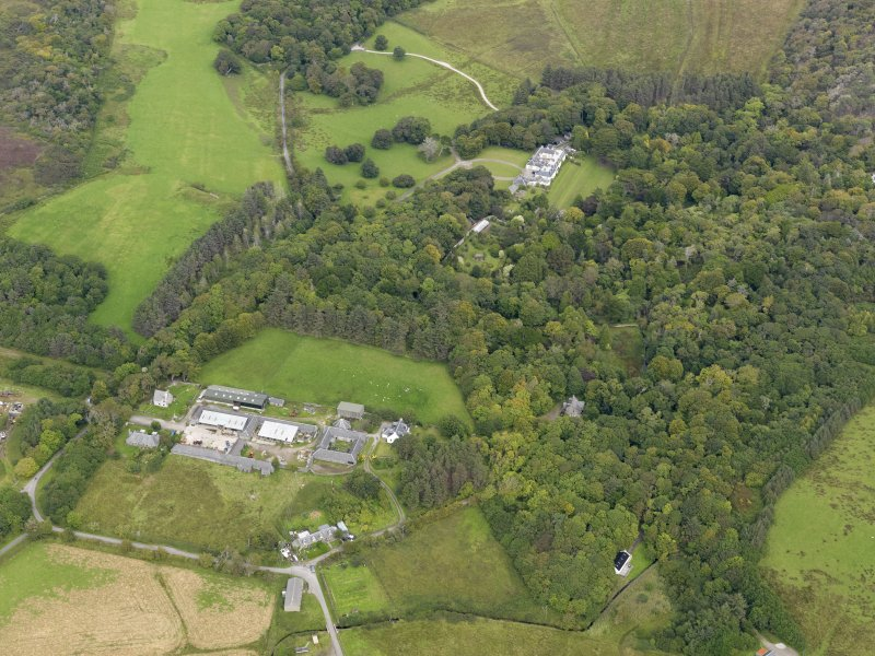 Oblique aerial view of Colonsay House and Kiloran Farm, taken from the SW.