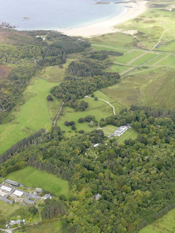 Oblique aerial view of Colonsay House and Kiloran Farm, taken from the SSE.