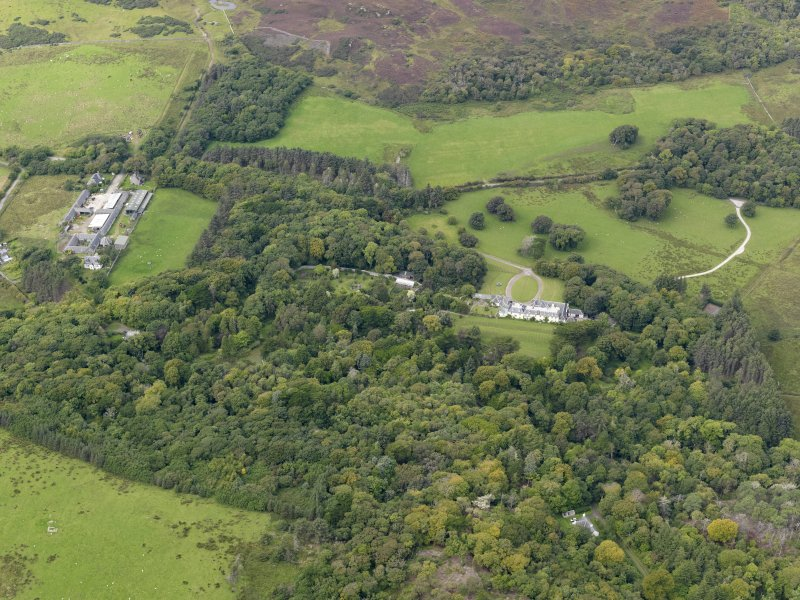 Oblique aerial view of Colonsay House and Kiloran Farm, taken from the SE.