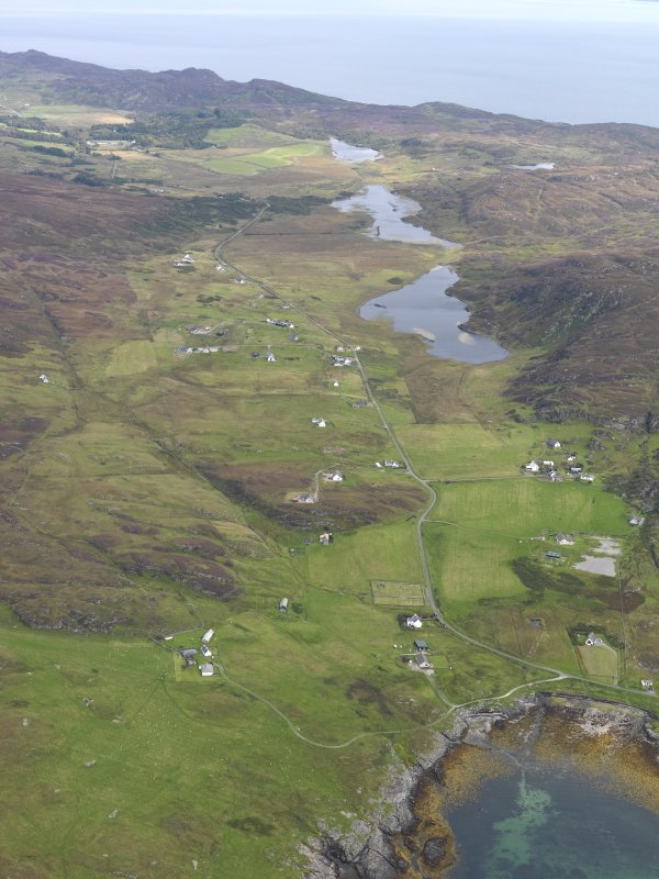 General oblique aerial view of Lower Kilchattan and Upper Kilchattan looking towards Loch Fada, taken from the SW.