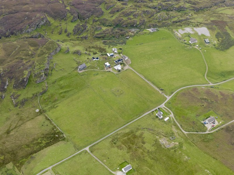 "Oblique aerial view of the remains of ""Fingal's Limpet Hammers"" or ""Carrach An"" stone circle, taken from the N."