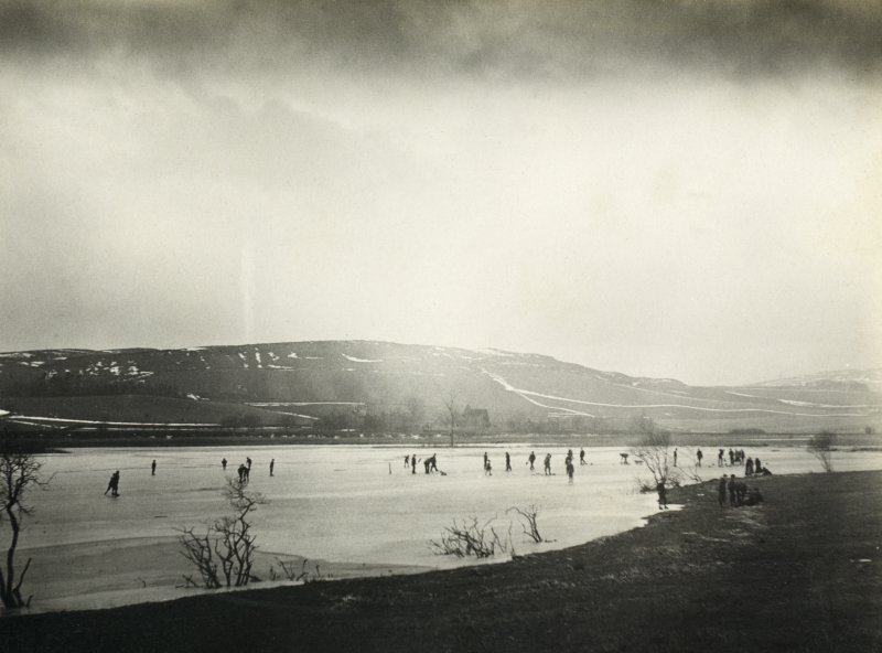View of curling game, possibly near Inchrye Abbey House