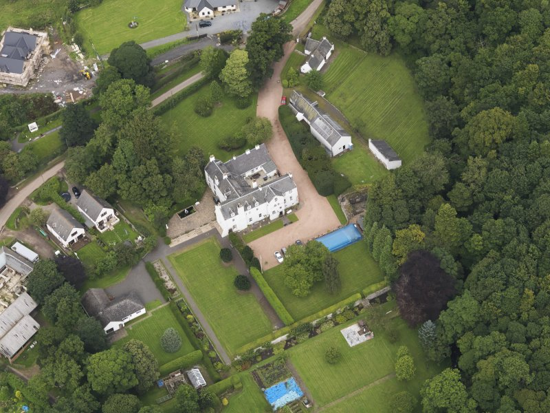 Oblique aerial view centred on the mansion taken from the S.