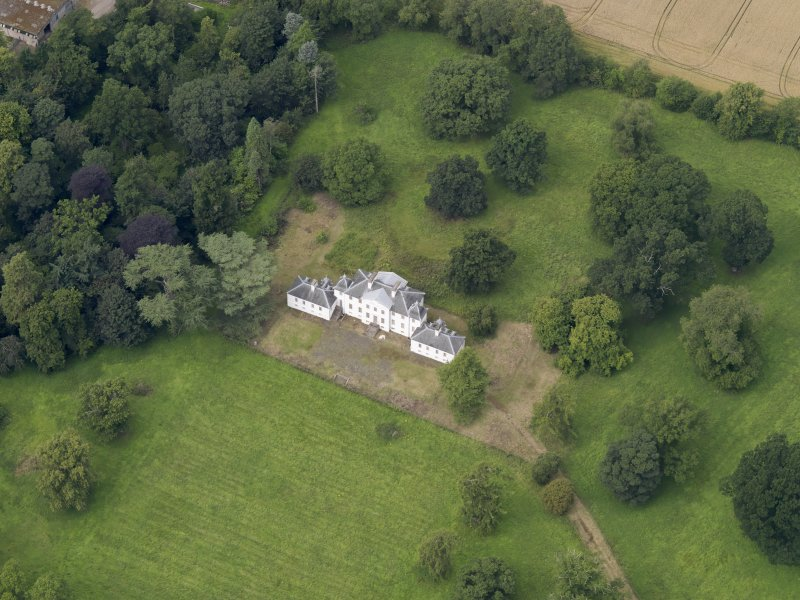 Oblique aerial view of the house taken from the SE.