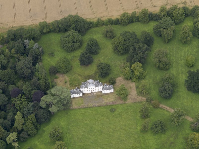Oblique aerial view of the house taken from the SSE.