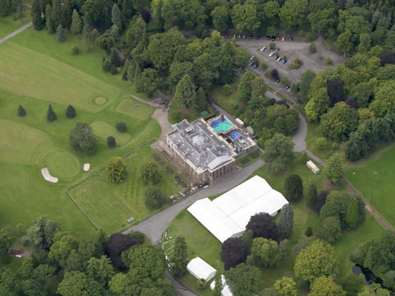 Oblique aerial view of the house taken from the ESE.